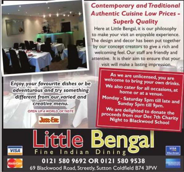 Little Bengal indian Restaurant opened in December 2011 in streetly village, serving Indian cuisine