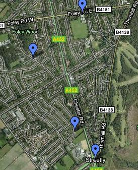 Streetly area map with zoom facility