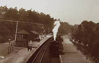 Streetly railway station and platform in the days of steam trains - copyright Streetly website