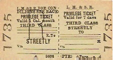 Streetly railway ticket in Sutton Coldfield - copyright Streetly website